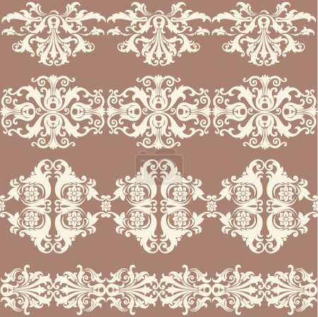 Vintage webbing, lace, border, banner seamless pattern with swirling decorative floral elements. Edge of the fabric, material on a brown background