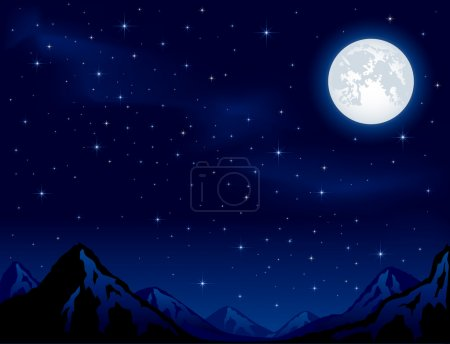 Illustration for Mountains on the Moon background - Royalty Free Image