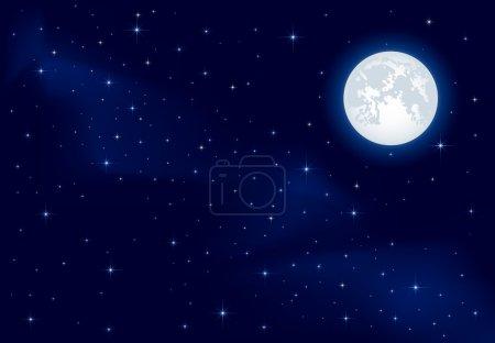 Illustration for Night background, Moon and shining Stars on dark blue sky, illustration - Royalty Free Image