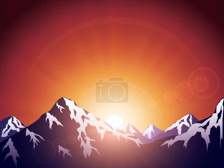 Illustration pour Montagnes sur le fond du soleil - image libre de droit