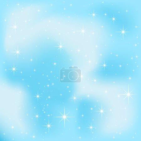 Illustration for Shining Stars on blue sky, illustration - Royalty Free Image