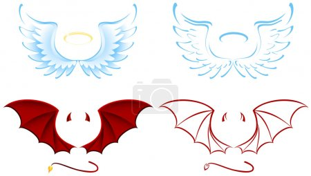 Angel and Devil wings, illustration...
