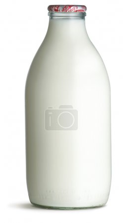 Traditional glass milk bottle isolated on a white bottle