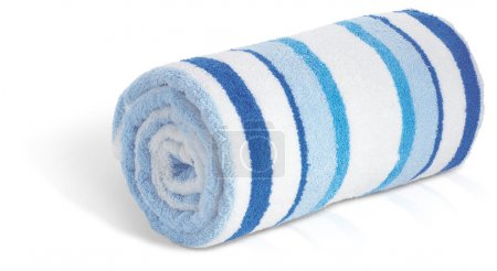 A rolled up blue and white seaside beach towel isolated on a wh