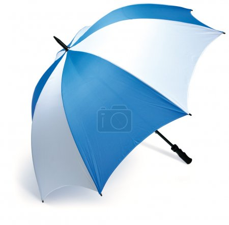 Blue and white golf umbrella isolated on a white background with