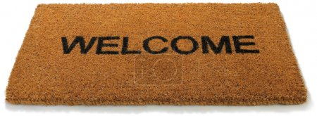 A hessian welcome mat matt on a white background...