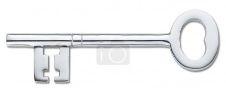 Photo pour Vue aérienne d'une clé d'argent porte isolée sur blanc (tracé de détourage) - image libre de droit