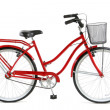 Red Bicycle over white background...