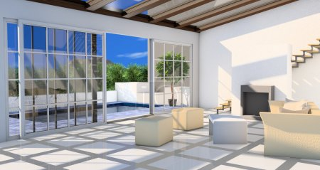 Living-room with terrace and plunge pool