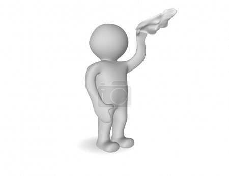 3d cartoon man waving farewell