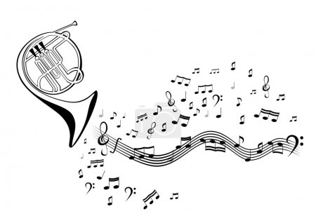 Illustration for Abstract vector image French horn and notes on staves - Royalty Free Image