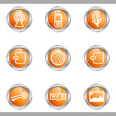 Set of 9 glossy web icons (set 14) Metallic circle