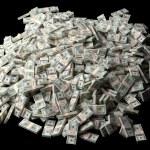 Huge pile of American money on black background