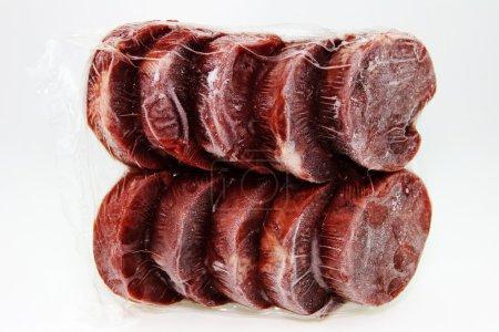 Frozen beef.