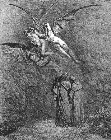 Photo pour Photo provient de la vision de l'enfer de dante alighieri, édition populaire, publié en 1892, Londres-Angleterre. illustration par gustave dore. - image libre de droit