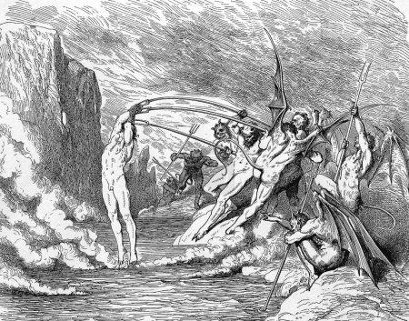 Photo pour Photo provient de la vision de l'enfer de dante alighieri, édition populaire, publié en 1892, Londres-Angleterre. illustration par gustave dore - image libre de droit
