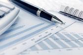 Finanční údaje koncept s perem