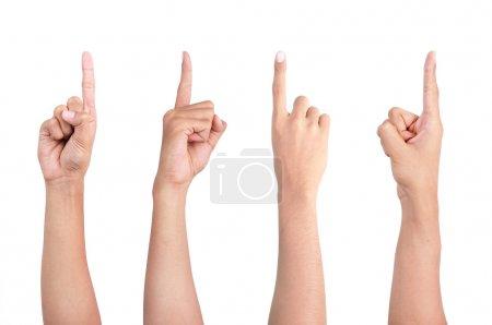 Photo pour Image du doigt d'un homme pointant sous quatre angles de vue différents - image libre de droit