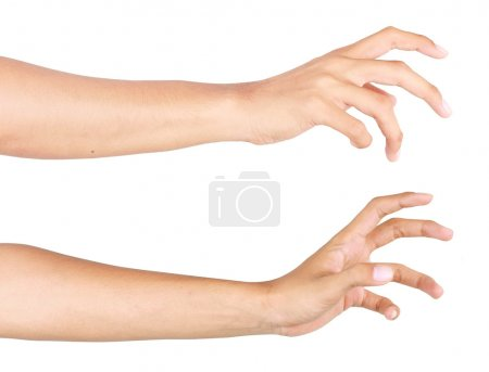 Photo for Gesture of hand trying to reach. isolated over white background - Royalty Free Image