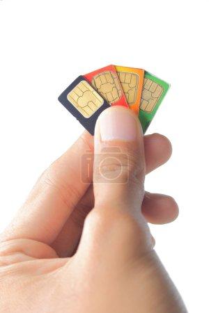 Sim card In a hand