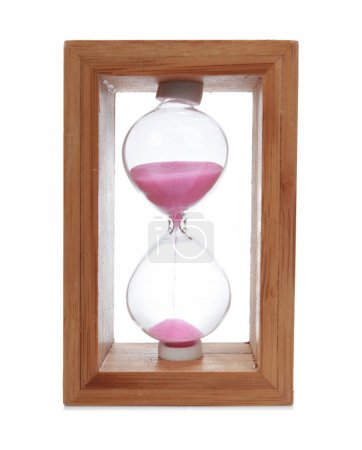 Hourglass with a pink sand