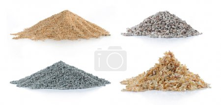 Pile of sand, pine wood, green carbon and rock