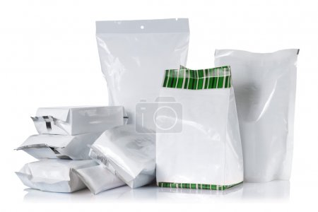 Photo for Group of product pack. isolated over white background - Royalty Free Image
