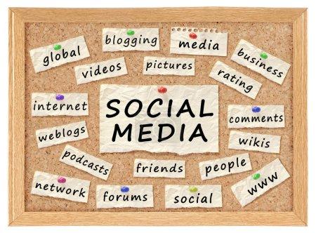 Photo pour Social avec des mots conceptuels de réseautage sur carton-liège isolé sur blanc - image libre de droit