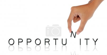 Photo for Gesture of hand hold letter - Royalty Free Image