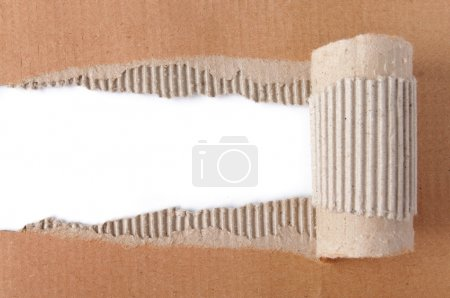 Photo for Brown corrugated texture paper torn - Royalty Free Image