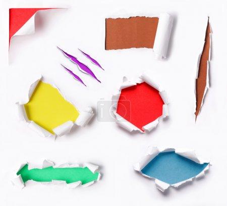 Photo pour Beaucoup de papier déchiré avec la couleur d'arrière-plan différente beaucoup - image libre de droit