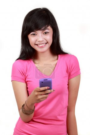 Mobile phone in woman hand