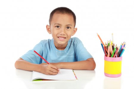 Portrait of young boy studying against white