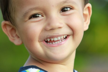 Portrait of mixed race kid smiling