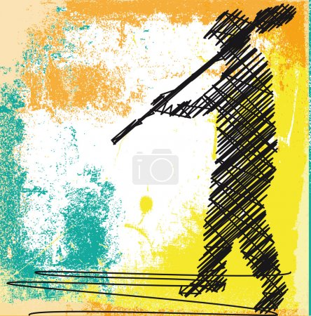 Abstract sketch of Worker digging with a shovel. Vector illustra