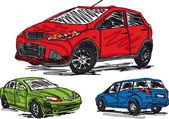 Sketch of 3 cars Vector illustration