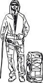 Sketch of backpacker Vector illustration