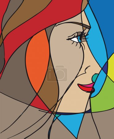 Illustration for Abstract woman face. Vector illustration - Royalty Free Image