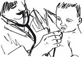 Sketch of doctor and baby Vector illustration