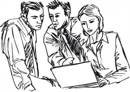 Illustration pour Croquis d'une entreprise prospère travaillant avec un ordinateur portable au bureau - image libre de droit