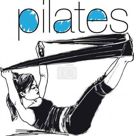 Sketch of pilates woman rubber resistance band fitness sport gym