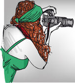 Sketch of Young beautiful woman taking a photo with a digital camera
