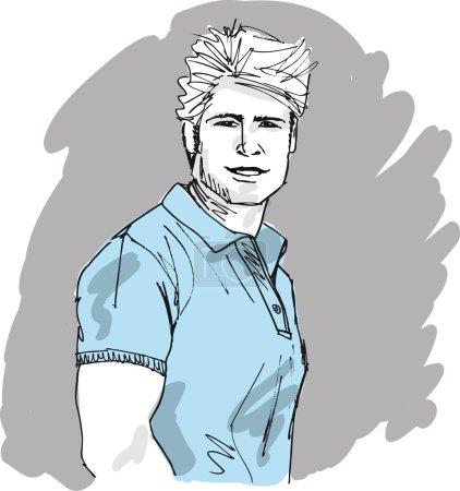 Sketch of handsome man face. Vector illustration...