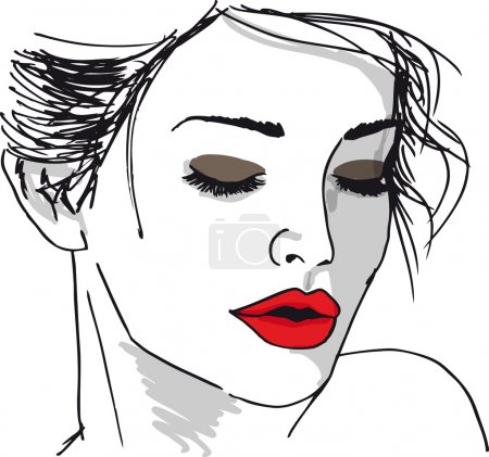 Illustration for Sketch of beautiful woman face. Vector illustration - Royalty Free Image