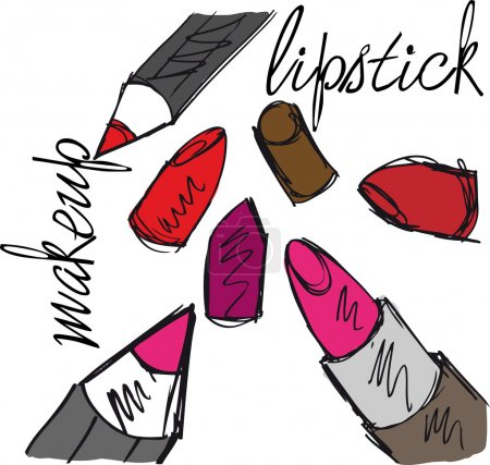 Sketch of Lipsticks and lipliners isolated on a white background