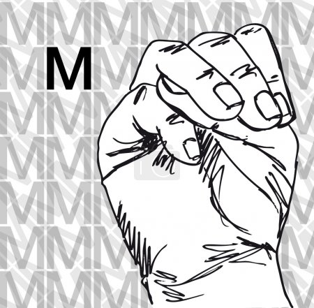 Illustration for Sketch of Sign Language Hand Gestures, Letter M. Vector illustration - Royalty Free Image