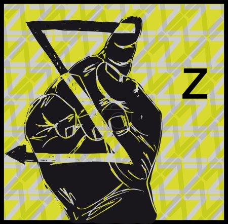 Illustration for Sketch of Sign Language Hand Gestures, Letter Z. Vector illustration - Royalty Free Image