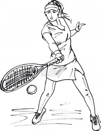 Sketch of woman with tennis racket. Vector illustration