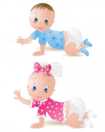 Illustration for Baby girl and boy - Royalty Free Image
