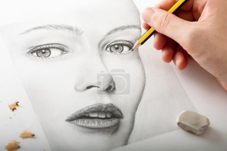 Photo for Hand Drawing a Woman Face with Pencil - Royalty Free Image